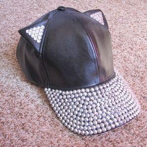 Accessories - Bling Leather-Like Cat Ear Baseball Cap